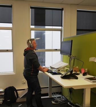 Steve Riley at stand up desk